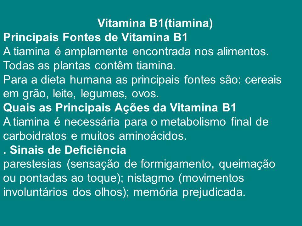 Vitamina B1(tiamina) Principais Fontes de Vitamina B1 A tiamina é amplamente encontrada nos alimentos.