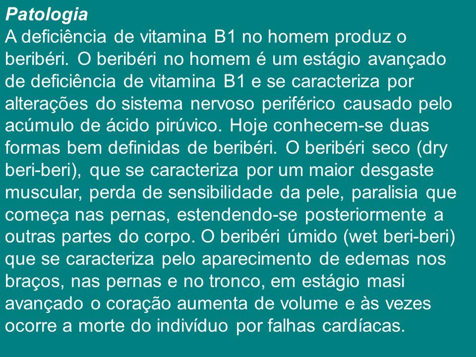 Patologia A deficiência de vitamina B1 no homem produz o beribéri.