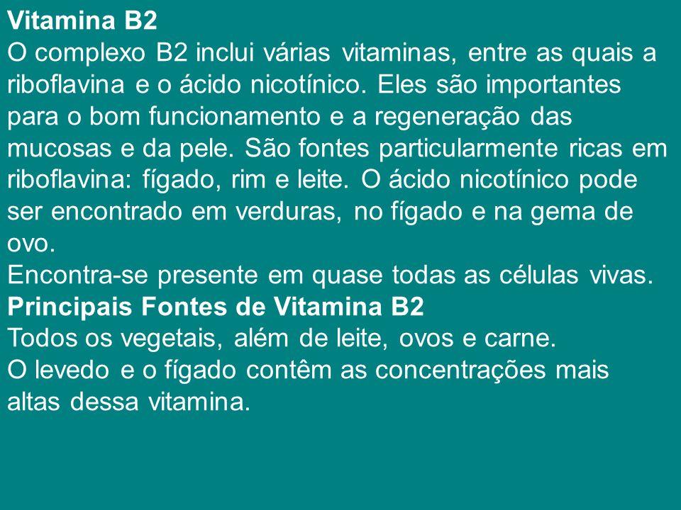 Vitamina B2 O complexo B2 inclui várias vitaminas, entre as quais a riboflavina e o ácido nicotínico.
