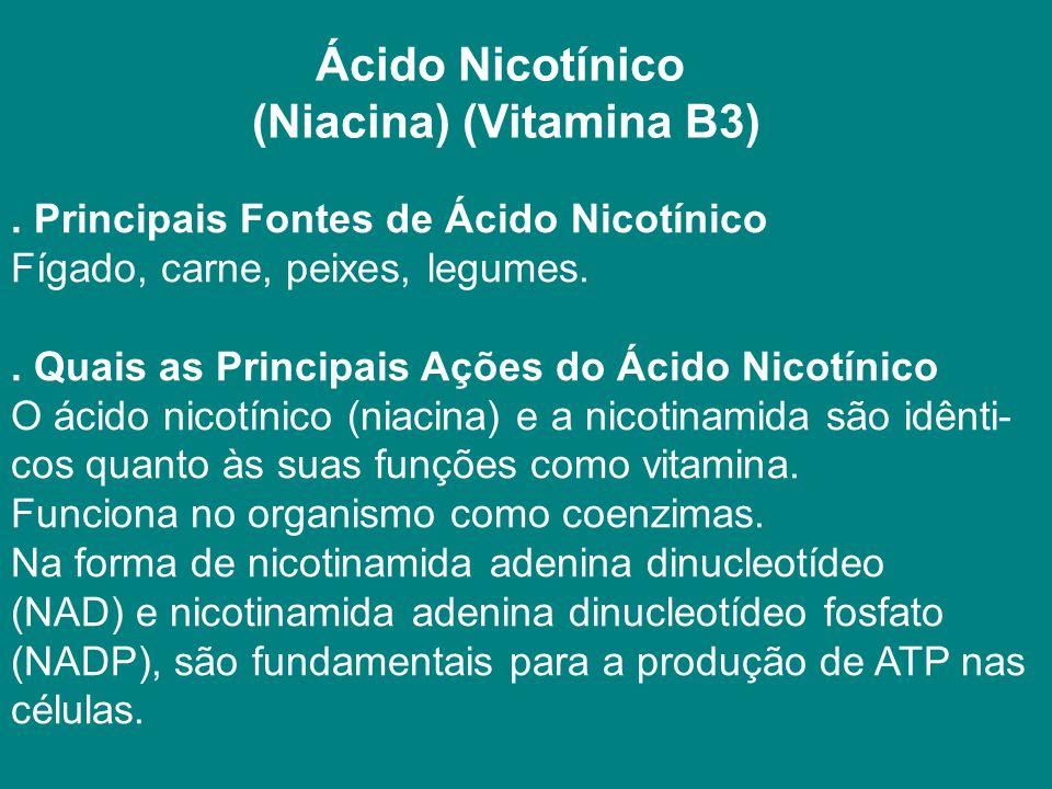 Ácido Nicotínico (Niacina) (Vitamina B3).