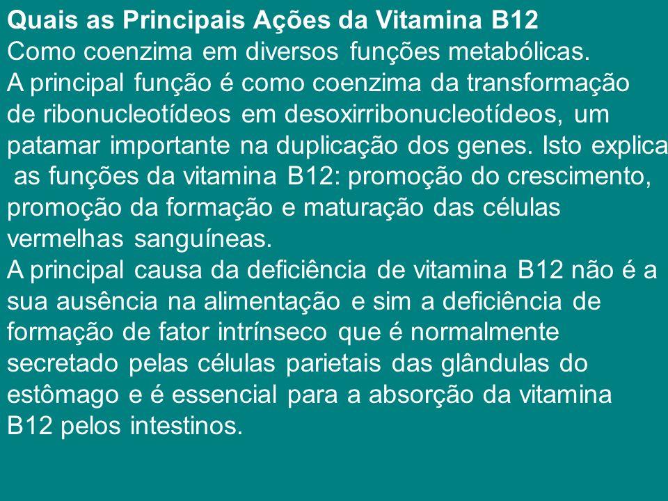 Quais as Principais Ações da Vitamina B12 Como coenzima em diversos funções metabólicas.