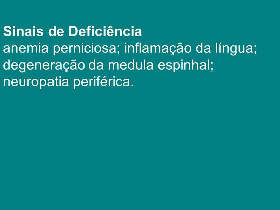 Sinais de Deficiência anemia perniciosa; inflamação da língua; degeneração da medula espinhal; neuropatia periférica.