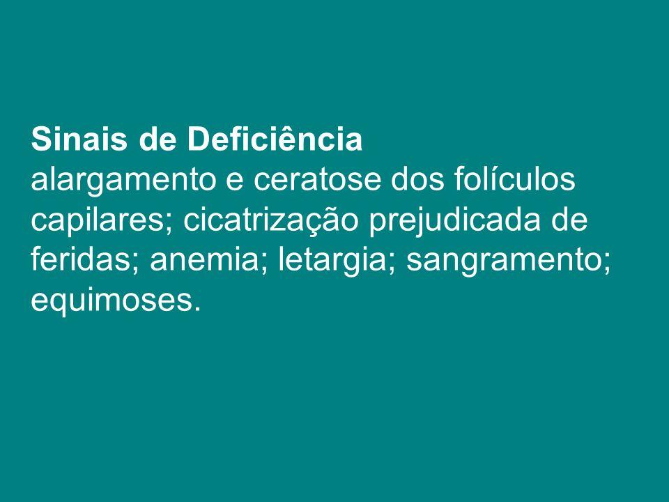 Sinais de Deficiência alargamento e ceratose dos folículos capilares; cicatrização prejudicada de feridas; anemia; letargia; sangramento; equimoses.