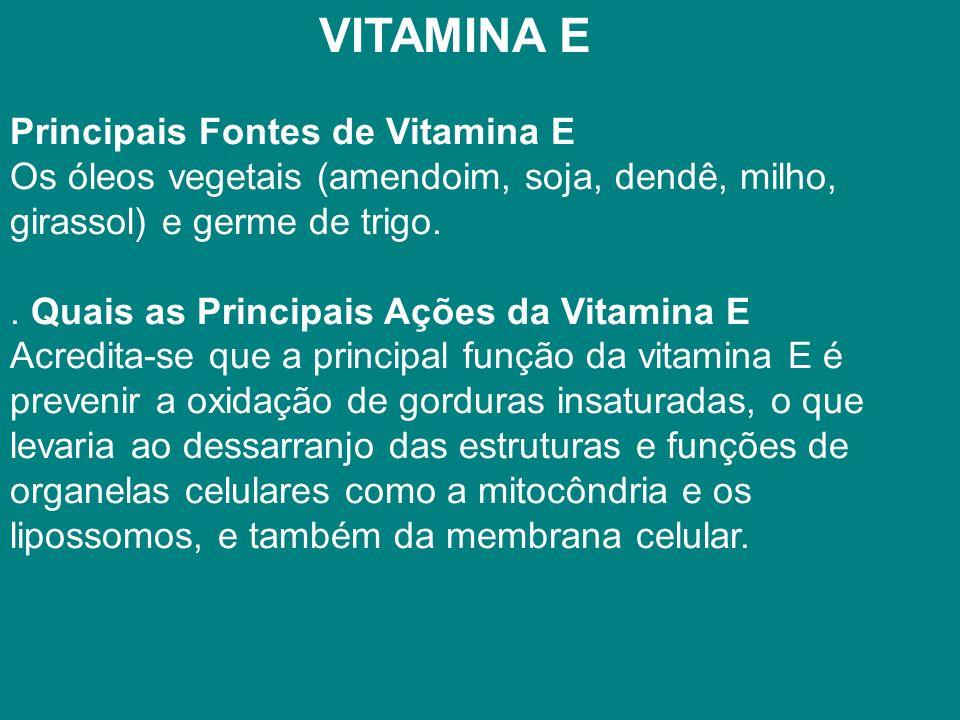 VITAMINA E Principais Fontes de Vitamina E Os óleos vegetais (amendoim, soja, dendê, milho, girassol) e germe de trigo..