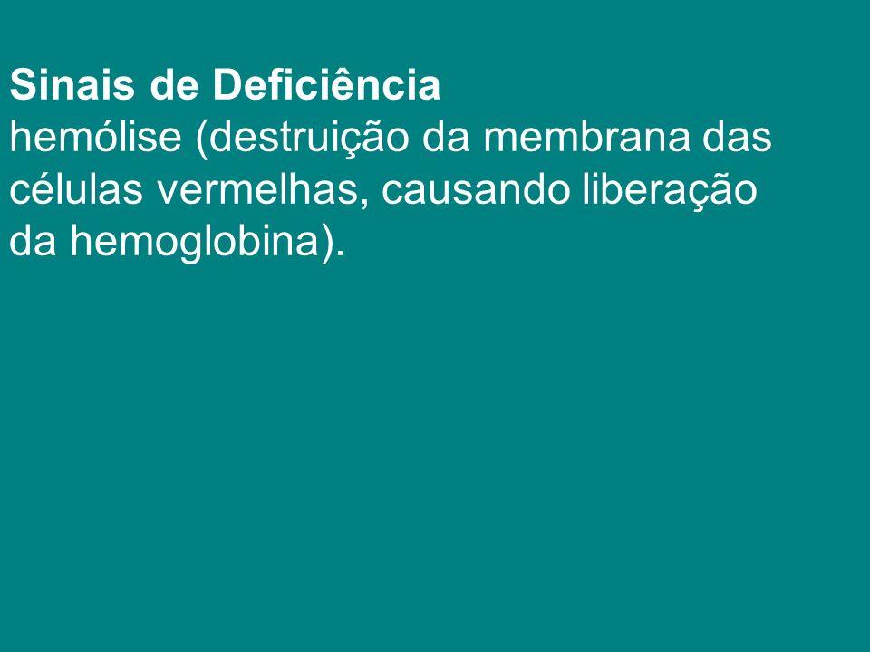 Sinais de Deficiência hemólise (destruição da membrana das células vermelhas, causando liberação da hemoglobina).