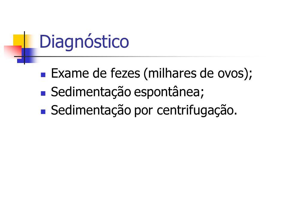 Diagnóstico Exame de fezes (milhares de ovos); Sedimentação espontânea; Sedimentação por centrifugação.