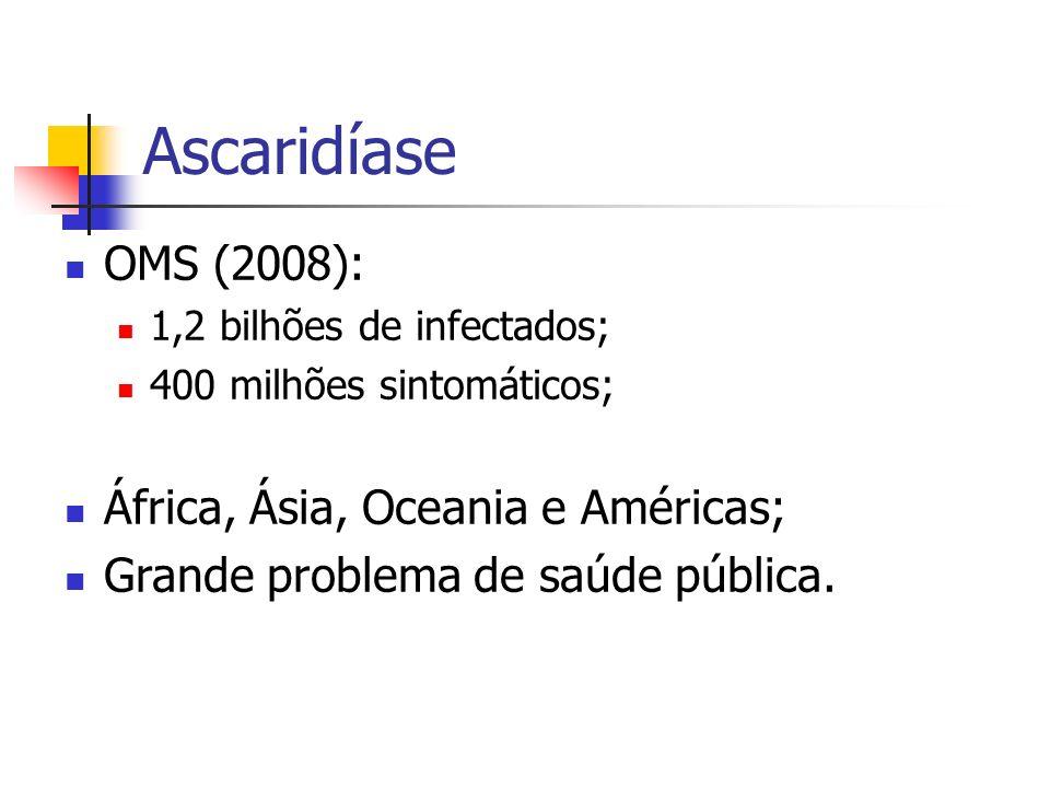 Ascaridíase OMS (2008): 1,2 bilhões de infectados; 400 milhões sintomáticos; África, Ásia, Oceania e Américas; Grande problema de saúde pública.