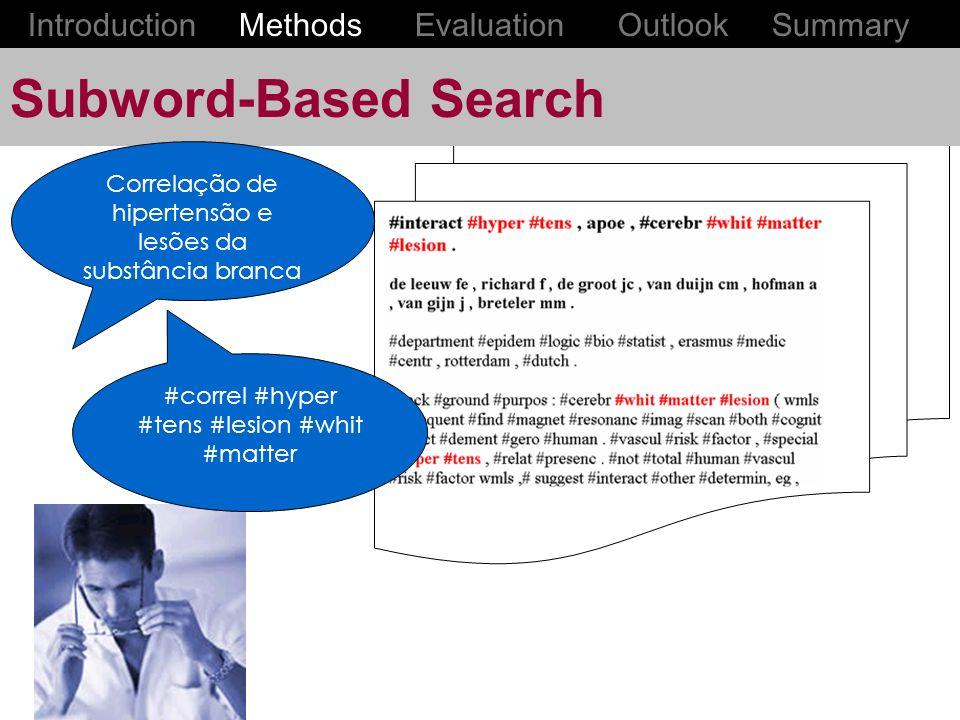 Subword-Based Search Correlação de hipertensão e lesões da substância branca #correl #hyper #tens #lesion #whit #matter Introduction Methods Evaluation Outlook Summary