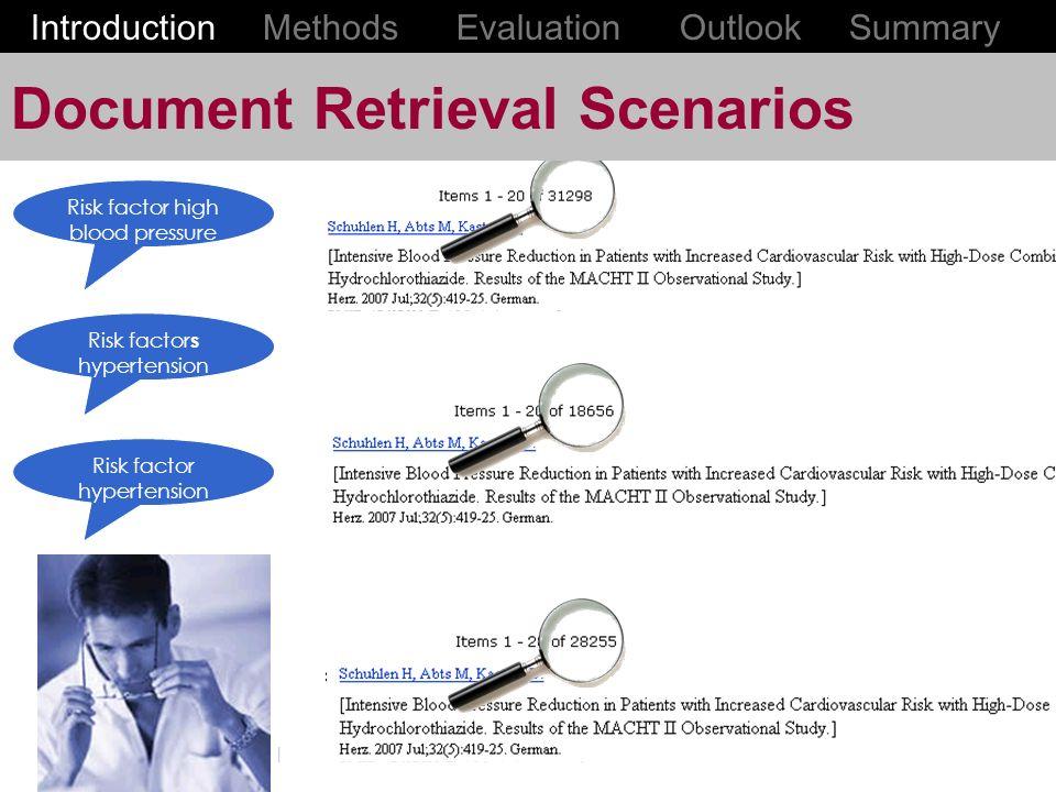 Document Retrieval Scenarios Risk factor high blood pressure Risk factor s hypertension Risk factor hypertension Introduction Methods Evaluation Outlook Summary
