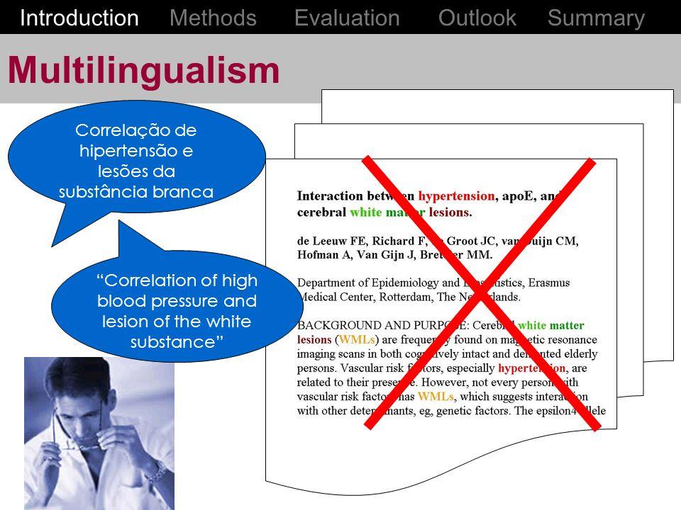 Multilingualism Correlação de hipertensão e lesões da substância branca Correlation of high blood pressure and lesion of the white substance Introduction Methods Evaluation Outlook Summary