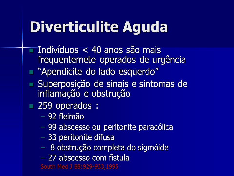 Diverticulite Aguda Indivíduos < 40 anos são mais frequentemete operados de urgência Indivíduos < 40 anos são mais frequentemete operados de urgência Apendicite do lado esquerdo Apendicite do lado esquerdo Superposição de sinais e sintomas de inflamação e obstrução Superposição de sinais e sintomas de inflamação e obstrução 259 operados : 259 operados : –92 fleimão –99 abscesso ou peritonite paracólica –33 peritonite difusa – 8 obstrução completa do sigmóide –27 abscesso com fístula South Med J 88:929-933,1995