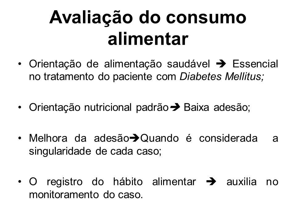 Avaliação do consumo alimentar Orientação de alimentação saudável Essencial no tratamento do paciente com Diabetes Mellitus; Orientação nutricional pa