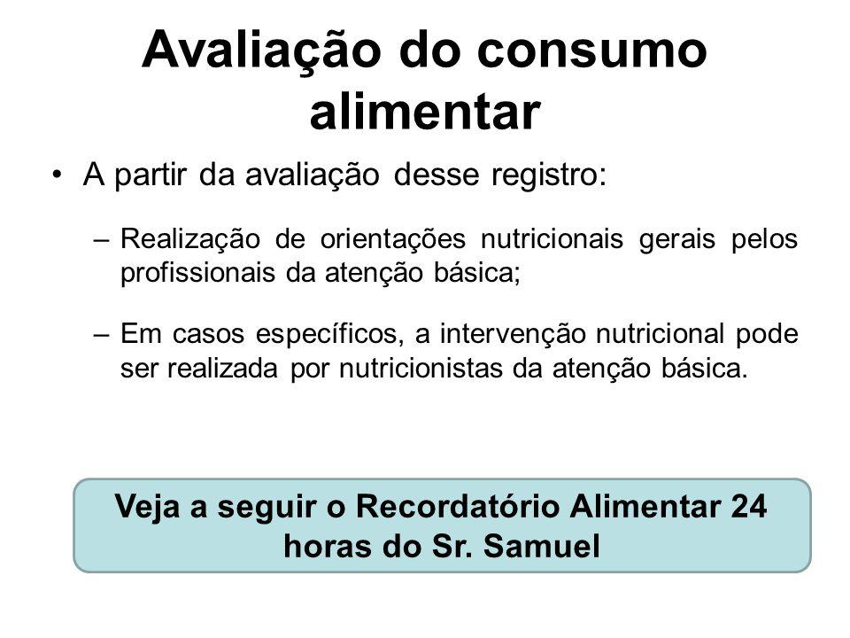 Avaliação do consumo alimentar A partir da avaliação desse registro: –Realização de orientações nutricionais gerais pelos profissionais da atenção bás