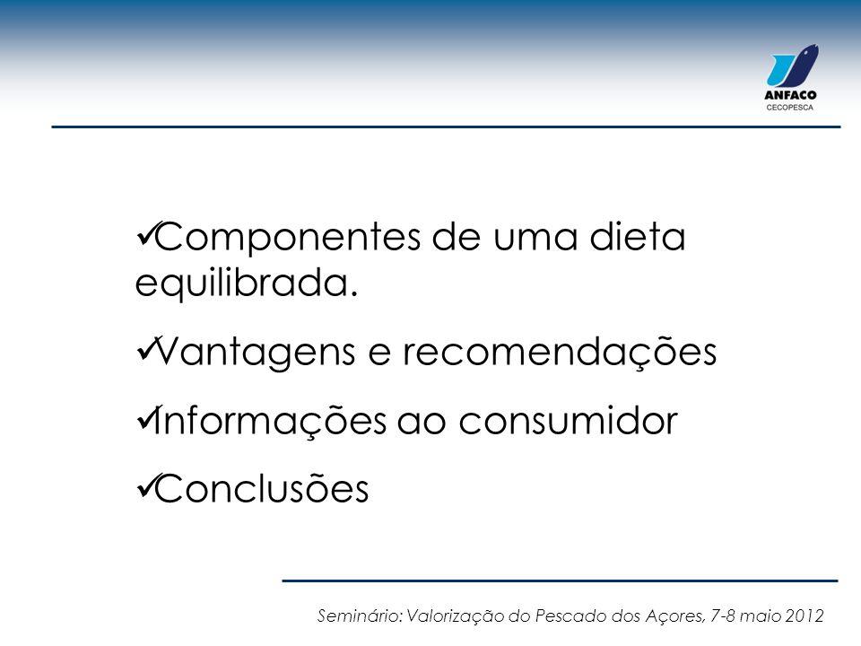 Componentes de uma dieta equilibrada. Vantagens e recomendações Informações ao consumidor Conclusões Seminário: Valorização do Pescado dos Açores, 7-8