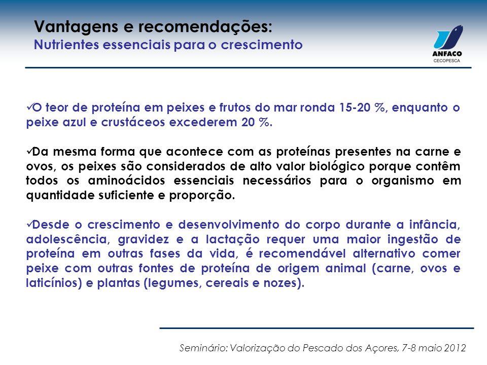 O teor de proteína em peixes e frutos do mar ronda 15-20 %, enquanto o peixe azul e crustáceos excederem 20 %. Da mesma forma que acontece com as prot