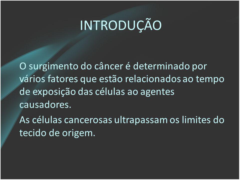 INTRODUÇÃO O surgimento do câncer é determinado por vários fatores que estão relacionados ao tempo de exposição das células ao agentes causadores. As