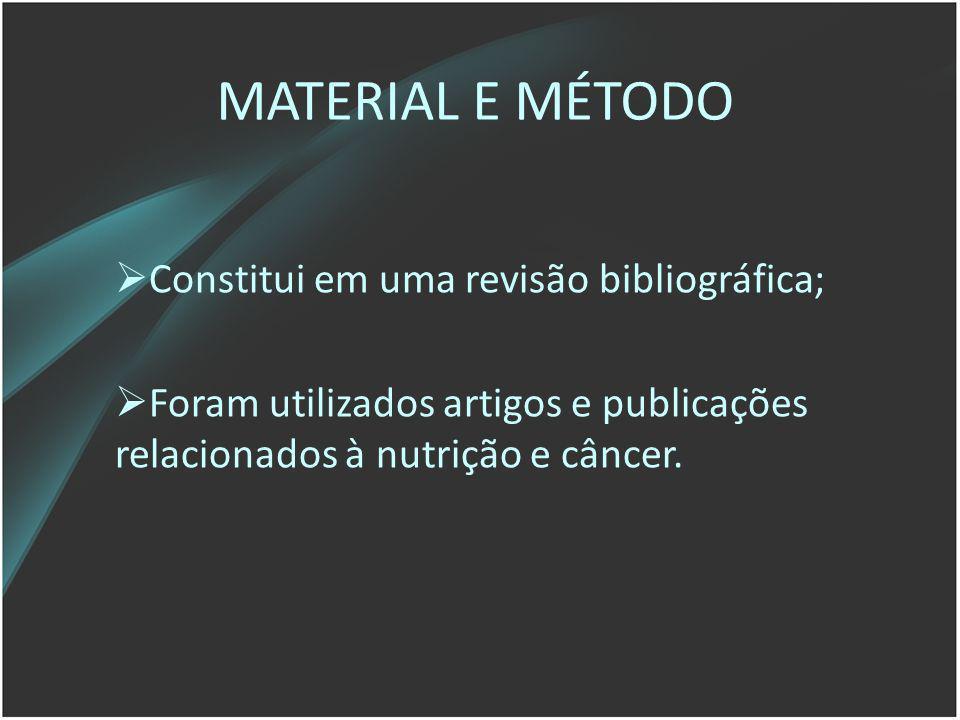 MATERIAL E MÉTODO Constitui em uma revisão bibliográfica; Foram utilizados artigos e publicações relacionados à nutrição e câncer.