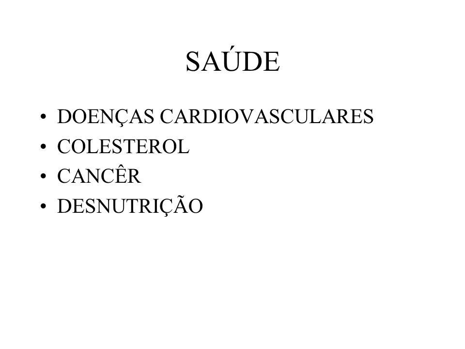 DOENÇAS CARDIOVASCULARES COLESTEROL CANCÊR DESNUTRIÇÃO