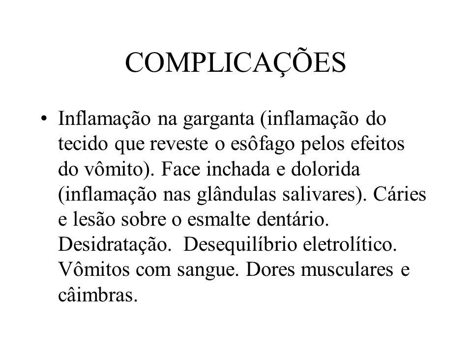 COMPLICAÇÕES Inflamação na garganta (inflamação do tecido que reveste o esôfago pelos efeitos do vômito).