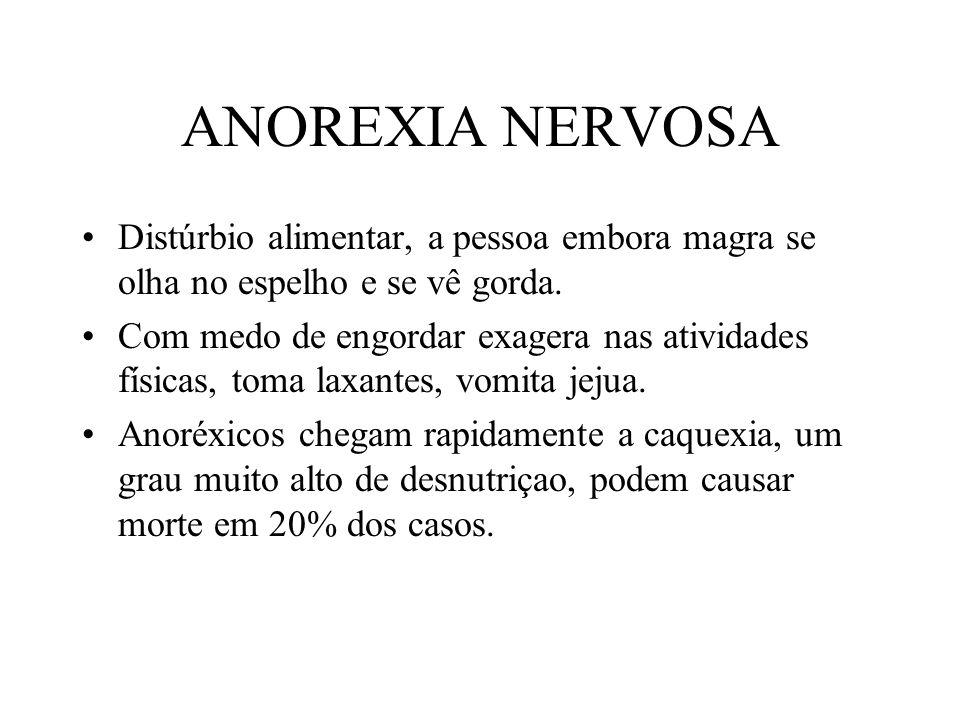 ANOREXIA NERVOSA Distúrbio alimentar, a pessoa embora magra se olha no espelho e se vê gorda.