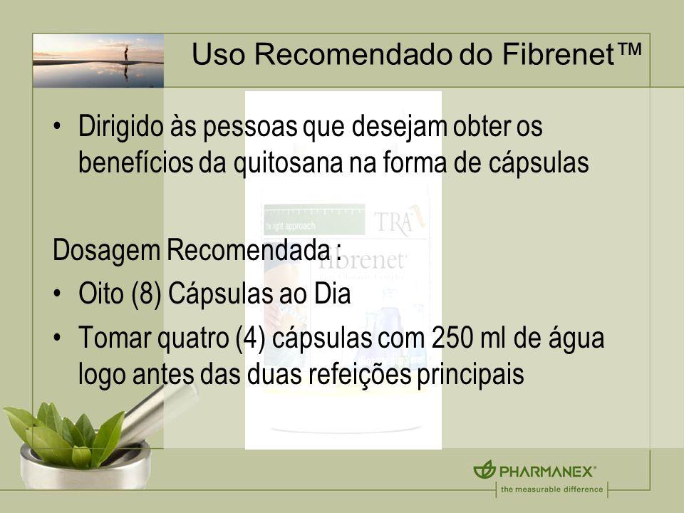 Uso Recomendado do Fibrenet Dirigido às pessoas que desejam obter os benefícios da quitosana na forma de cápsulas Dosagem Recomendada : Oito (8) Cápsu