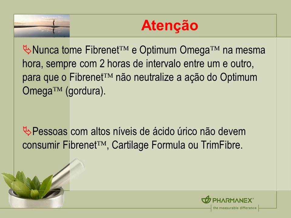 Atenção Nunca tome Fibrenet e Optimum Omega na mesma hora, sempre com 2 horas de intervalo entre um e outro, para que o Fibrenet não neutralize a ação do Optimum Omega (gordura).