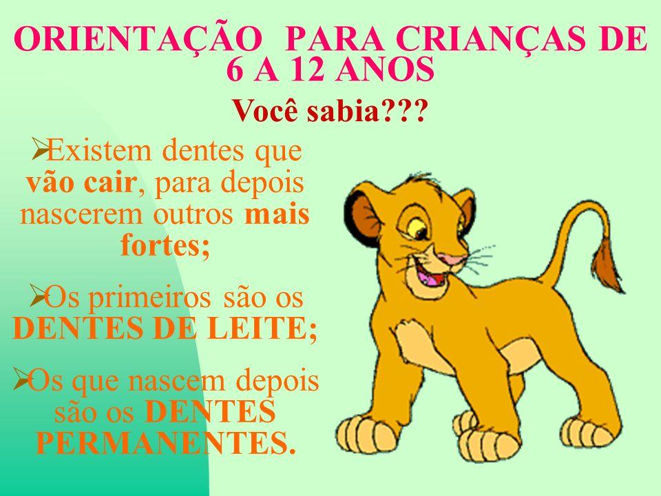 ORIENTAÇÃO PARA CRIANÇAS DE 6 A 12 ANOS Você sabia??.