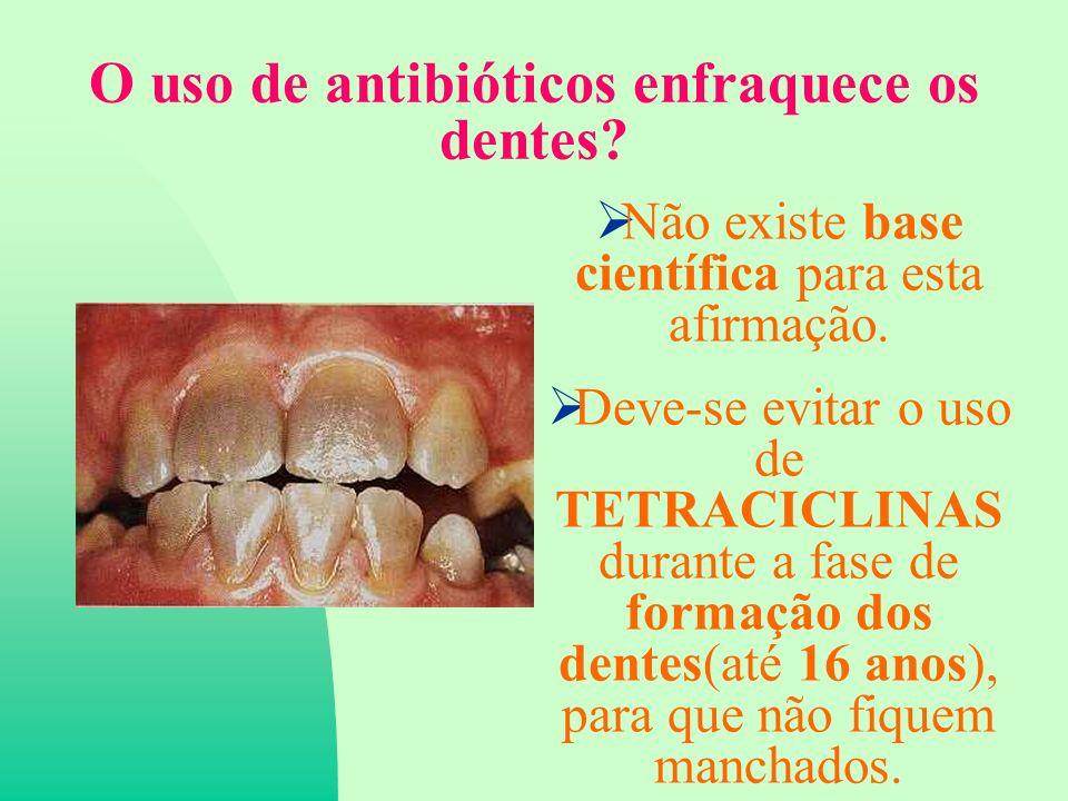 O uso de antibióticos enfraquece os dentes.Não existe base científica para esta afirmação.