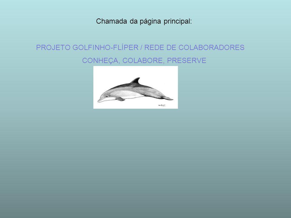 Chamada da página principal: PROJETO GOLFINHO-FLÍPER / REDE DE COLABORADORES CONHEÇA, COLABORE, PRESERVE