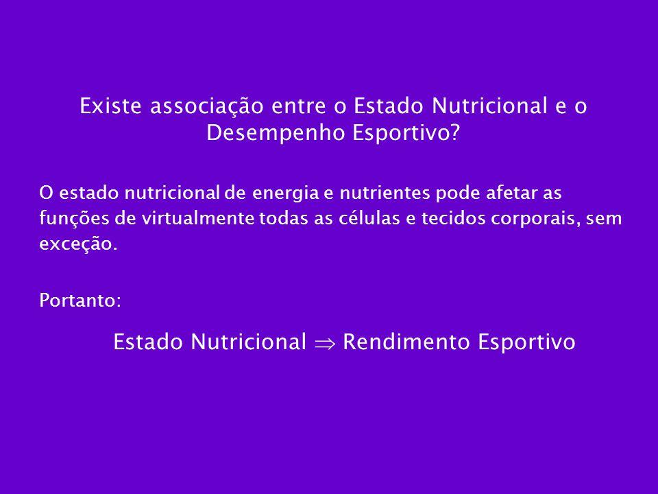 Existe associação entre o Estado Nutricional e o Desempenho Esportivo? O estado nutricional de energia e nutrientes pode afetar as funções de virtualm