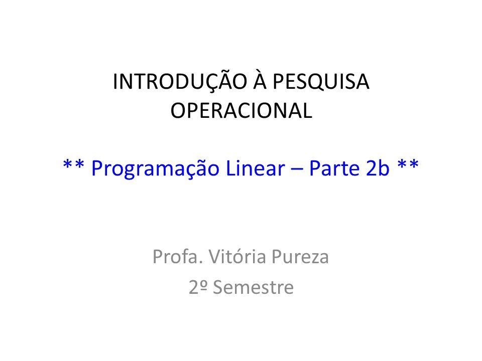 INTRODUÇÃO À PESQUISA OPERACIONAL ** Programação Linear – Parte 2b ** Profa. Vitória Pureza 2º Semestre