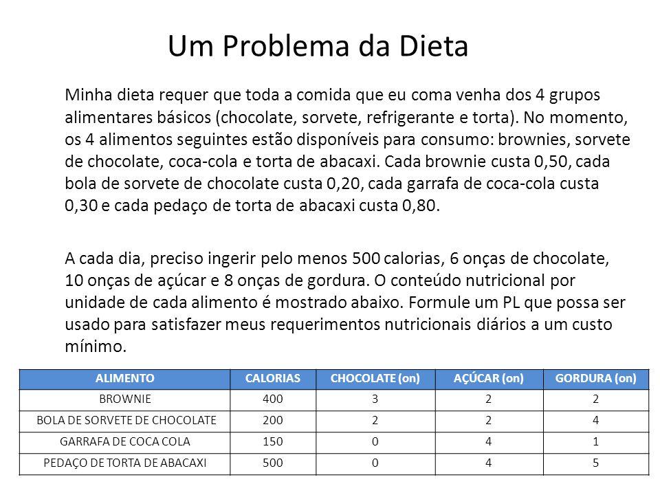Um Problema da Dieta Minha dieta requer que toda a comida que eu coma venha dos 4 grupos alimentares básicos (chocolate, sorvete, refrigerante e torta