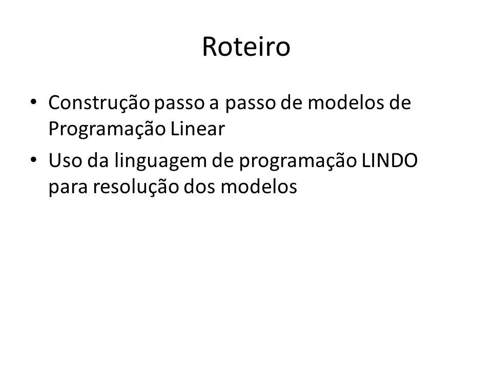 Passos para Modelagem de Programação Matemática Defina o objetivo do problema.