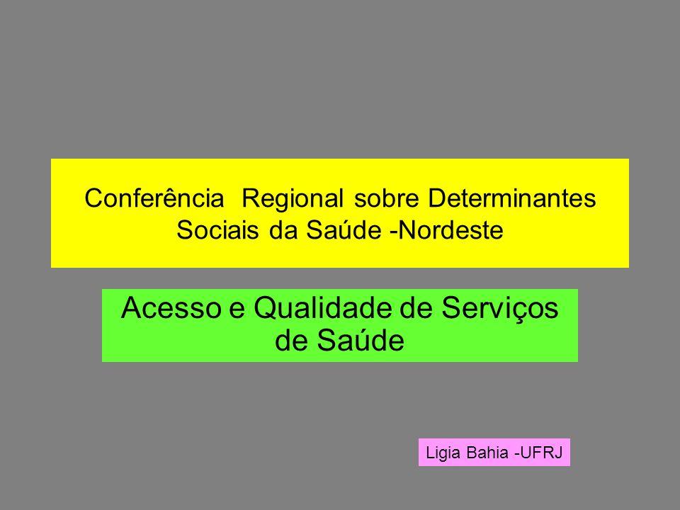 Conferência Regional sobre Determinantes Sociais da Saúde -Nordeste Acesso e Qualidade de Serviços de Saúde Ligia Bahia -UFRJ