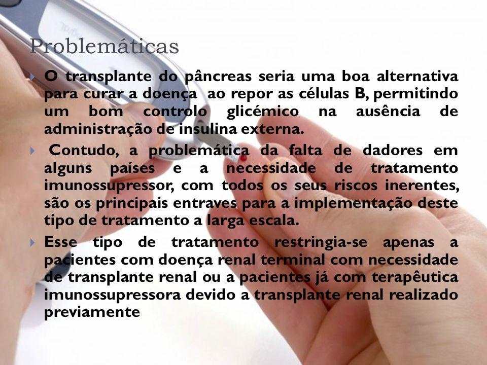 Problemáticas O transplante do pâncreas seria uma boa alternativa para curar a doença ao repor as células B, permitindo um bom controlo glicémico na a