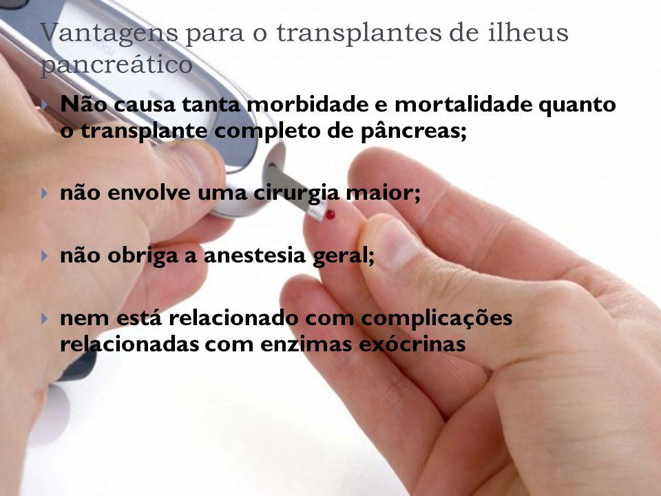 Vantagens para o transplantes de ilheus pancreático Não causa tanta morbidade e mortalidade quanto o transplante completo de pâncreas; não envolve uma