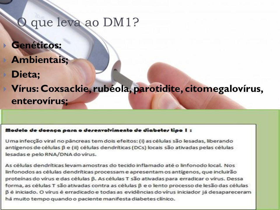 O que leva ao DM1? Genéticos: Ambientais; Dieta; Vírus: Coxsackie, rubéola, parotidite, citomegalovírus, enterovírus;