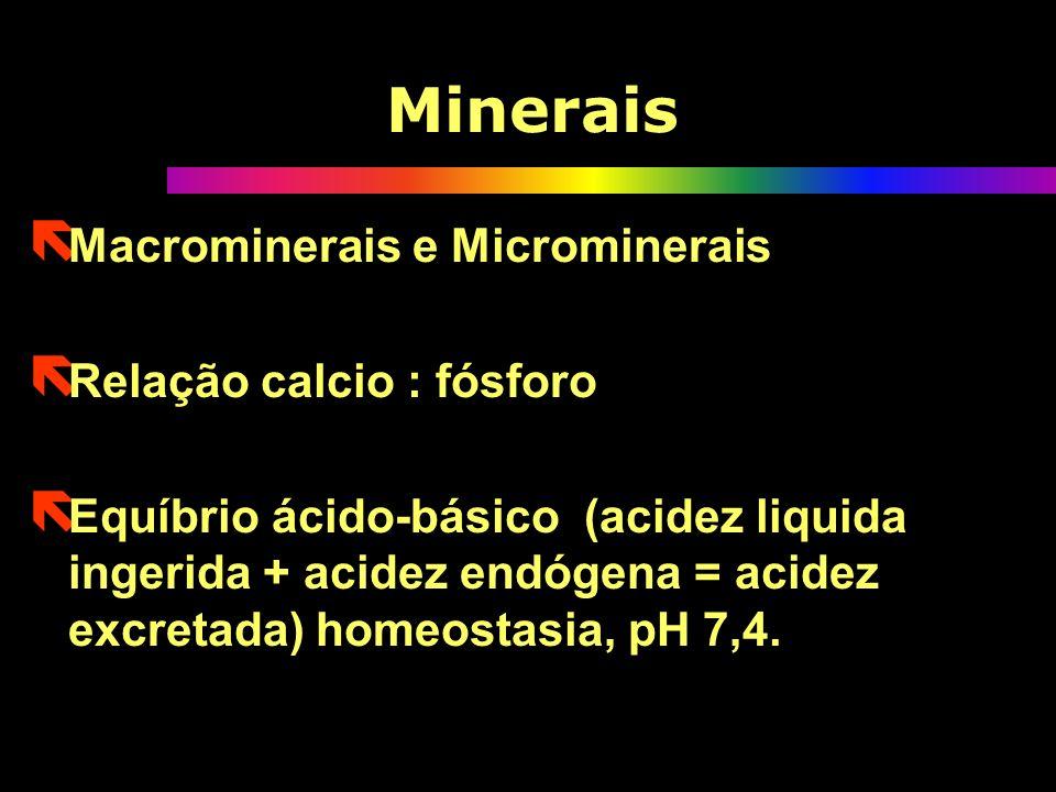 ë Macrominerais e Microminerais ë Relação calcio : fósforo ë Equíbrio ácido-básico (acidez liquida ingerida + acidez endógena = acidez excretada) homeostasia, pH 7,4.