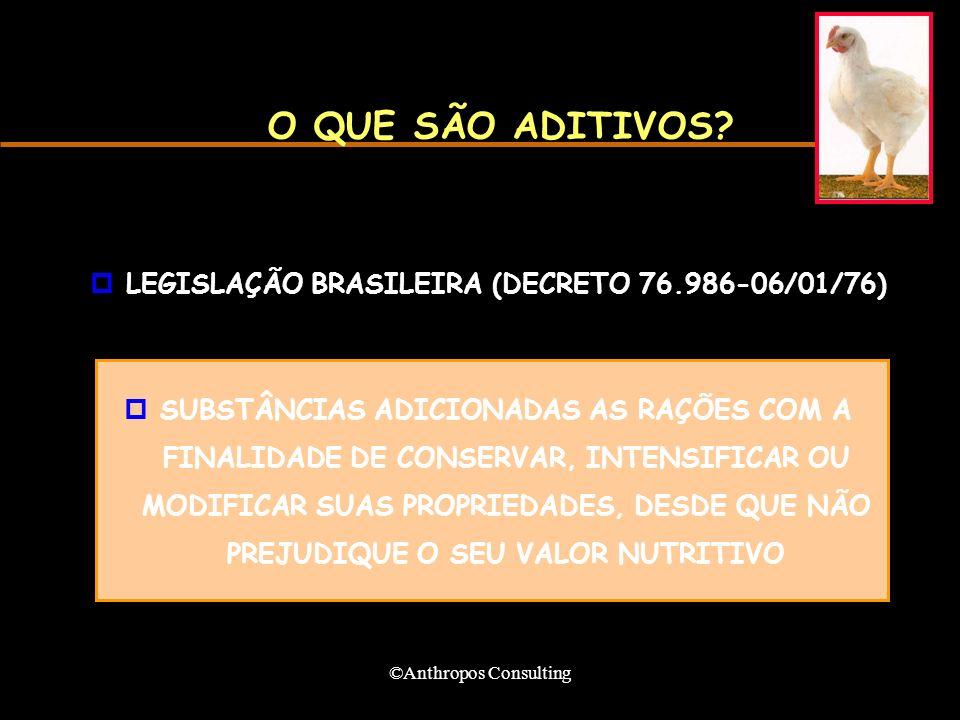 ©Anthropos Consulting O QUE SÃO ADITIVOS? pLEGISLAÇÃO BRASILEIRA (DECRETO 76.986-06/01/76) pSUBSTÂNCIAS ADICIONADAS AS RAÇÕES COM A FINALIDADE DE CONS