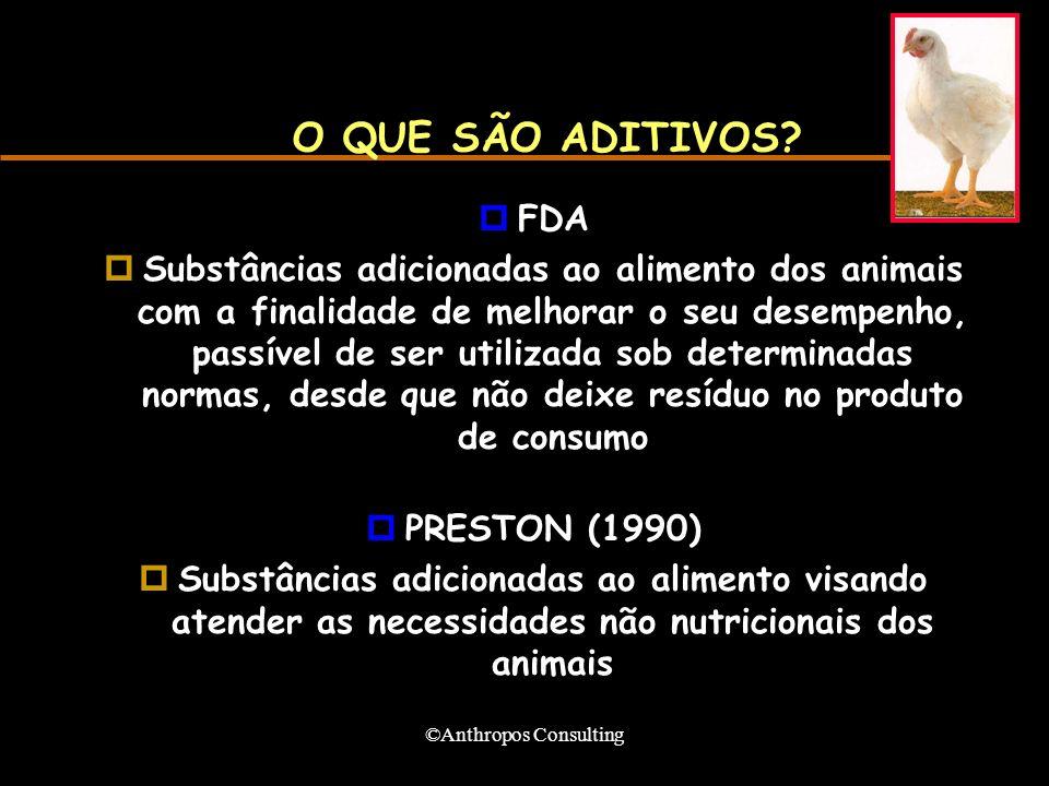 ©Anthropos Consulting O QUE SÃO ADITIVOS? pFDA pSubstâncias adicionadas ao alimento dos animais com a finalidade de melhorar o seu desempenho, passíve