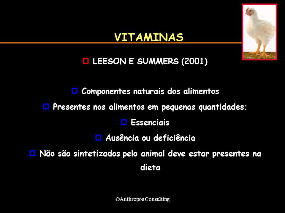 ©Anthropos Consulting VITAMINAS pLEESON E SUMMERS (2001) pComponentes naturais dos alimentos pPresentes nos alimentos em pequenas quantidades; pEssenciais pAusência ou deficiência pNão são sintetizados pelo animal deve estar presentes na dieta