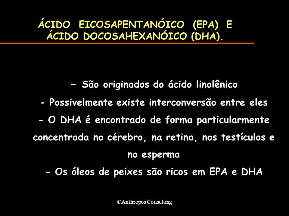 ©Anthropos Consulting ÁCIDO EICOSAPENTANÓICO (EPA) E ÁCIDO DOCOSAHEXANÓICO (DHA). - São originados do ácido linolênico - Possivelmente existe intercon