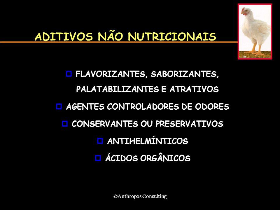 ©Anthropos Consulting ADITIVOS NÃO NUTRICIONAIS pFLAVORIZANTES, SABORIZANTES, PALATABILIZANTES E ATRATIVOS pAGENTES CONTROLADORES DE ODORES pCONSERVANTES OU PRESERVATIVOS pANTIHELMÍNTICOS pÁCIDOS ORGÂNICOS