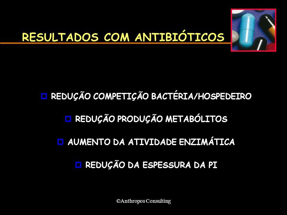 ©Anthropos Consulting RESULTADOS COM ANTIBIÓTICOS pREDUÇÃO COMPETIÇÃO BACTÉRIA/HOSPEDEIRO pREDUÇÃO PRODUÇÃO METABÓLITOS pAUMENTO DA ATIVIDADE ENZIMÁTICA pREDUÇÃO DA ESPESSURA DA PI