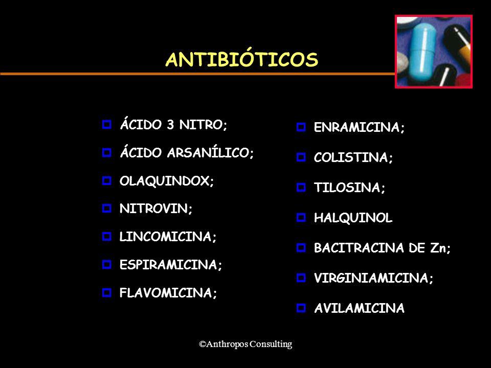 ©Anthropos Consulting ANTIBIÓTICOS pÁCIDO 3 NITRO; pÁCIDO ARSANÍLICO; pOLAQUINDOX; pNITROVIN; pLINCOMICINA; pESPIRAMICINA; pFLAVOMICINA; pENRAMICINA; pCOLISTINA; pTILOSINA; pHALQUINOL pBACITRACINA DE Zn; pVIRGINIAMICINA; pAVILAMICINA