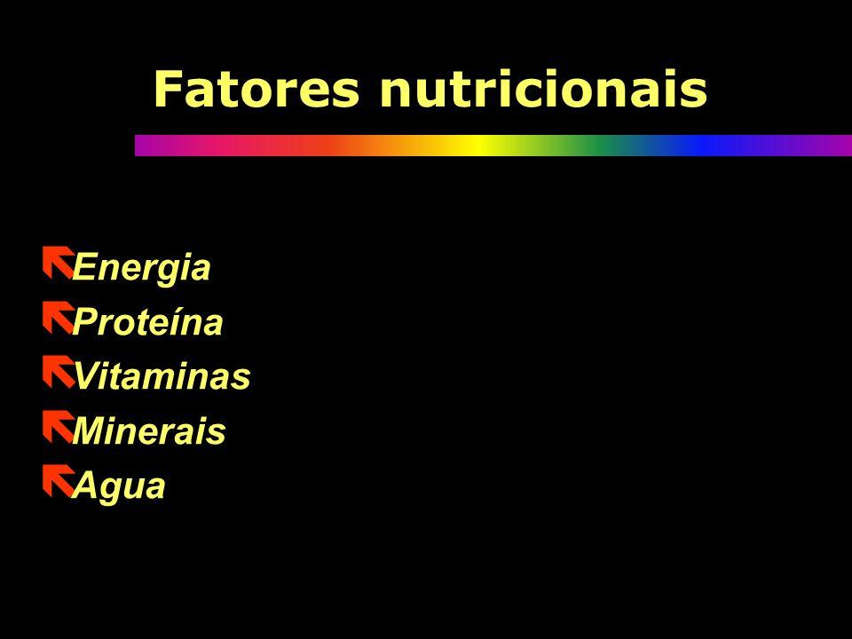 Fatores nutricionais ë Energia ë Proteína ë Vitaminas ë Minerais ë Agua ë Energia ë Proteína ë Vitaminas ë Minerais ë Agua