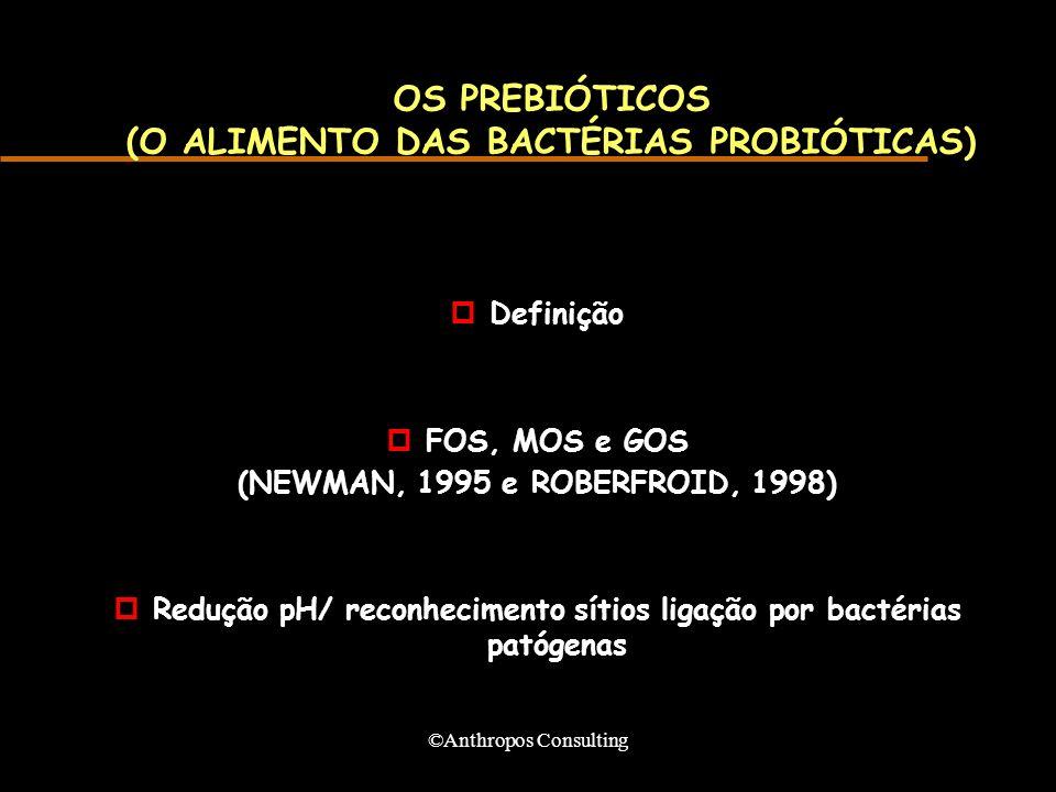 ©Anthropos Consulting OS PREBIÓTICOS (O ALIMENTO DAS BACTÉRIAS PROBIÓTICAS) pDefinição pFOS, MOS e GOS (NEWMAN, 1995 e ROBERFROID, 1998) pRedução pH/