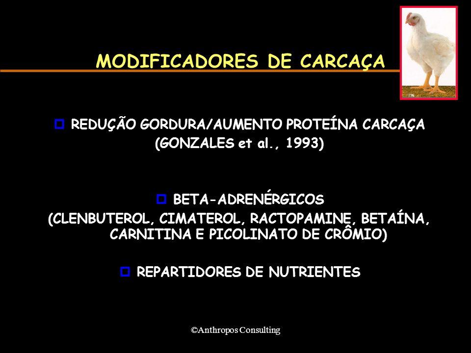 ©Anthropos Consulting MODIFICADORES DE CARCAÇA pREDUÇÃO GORDURA/AUMENTO PROTEÍNA CARCAÇA (GONZALES et al., 1993) pBETA-ADRENÉRGICOS (CLENBUTEROL, CIMATEROL, RACTOPAMINE, BETAÍNA, CARNITINA E PICOLINATO DE CRÔMIO) pREPARTIDORES DE NUTRIENTES