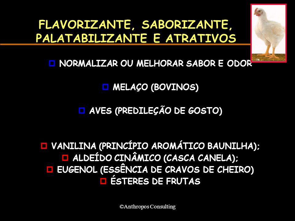 ©Anthropos Consulting FLAVORIZANTE, SABORIZANTE, PALATABILIZANTE E ATRATIVOS pNORMALIZAR OU MELHORAR SABOR E ODOR pMELAÇO (BOVINOS) pAVES (PREDILEÇÃO DE GOSTO) pVANILINA (PRINCÍPIO AROMÁTICO BAUNILHA); pALDEÍDO CINÂMICO (CASCA CANELA); pEUGENOL (ESSÊNCIA DE CRAVOS DE CHEIRO) pÉSTERES DE FRUTAS