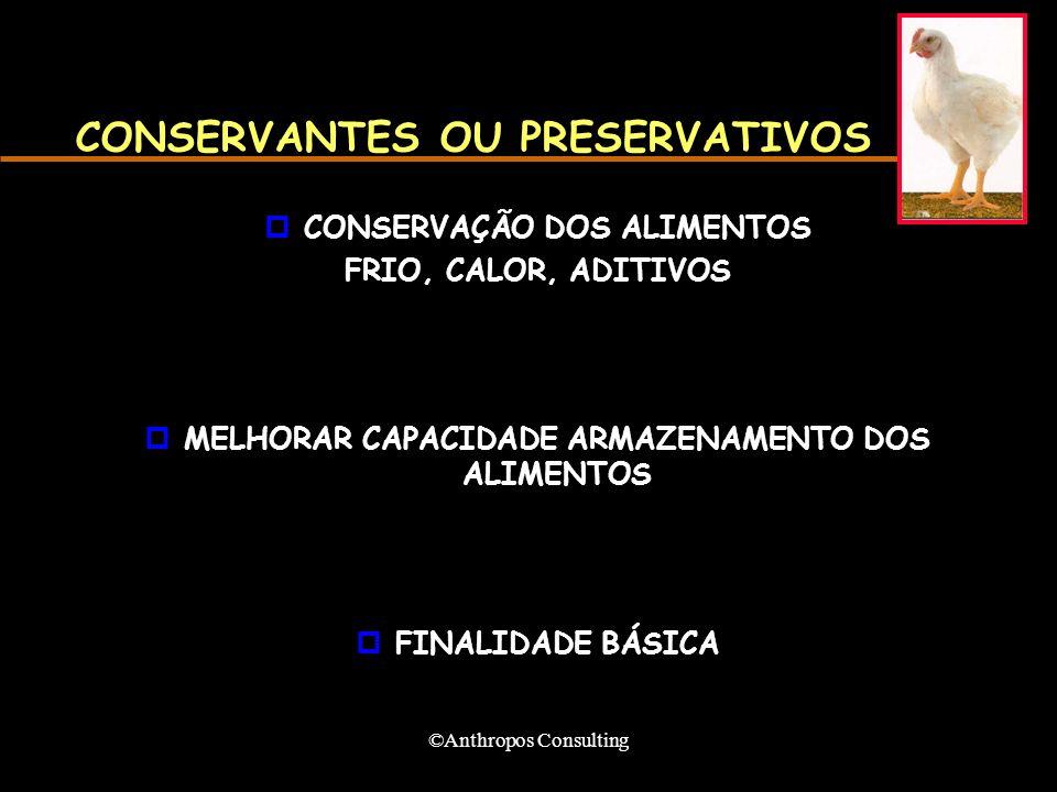 ©Anthropos Consulting CONSERVANTES OU PRESERVATIVOS pCONSERVAÇÃO DOS ALIMENTOS FRIO, CALOR, ADITIVOS pMELHORAR CAPACIDADE ARMAZENAMENTO DOS ALIMENTOS pFINALIDADE BÁSICA